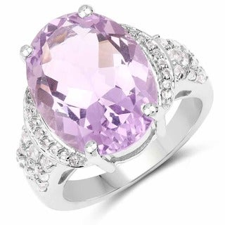 Malaika Sterling Silver 9ct TGW Oval-cut Amethyst and White Topaz Ring