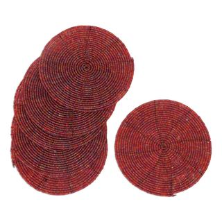 Set of 6 Handcrafted Beaded 'Shimmering Pink' Coasters (Indonesia)