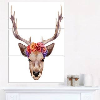 Designart - Deer Portrait with Floral Head - Deer Canvas Art Print