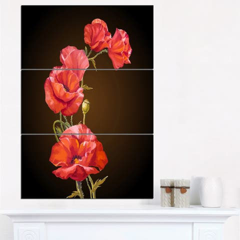 Bright Poppies Flower - Floral Canvas Art Print - Red