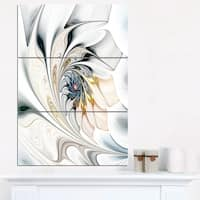 Designart 'White Stained Glass Floral Art' Large Floral Wall Art Canvas - White