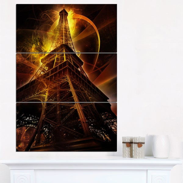 Paris Eiffel Tower on Fantasy Background - Cityscape Canvas print - Red