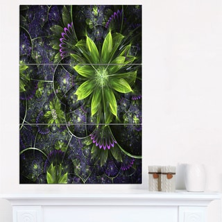 Glossy Green Purple Fractal Flowers - Large Floral Wall Art Canvas