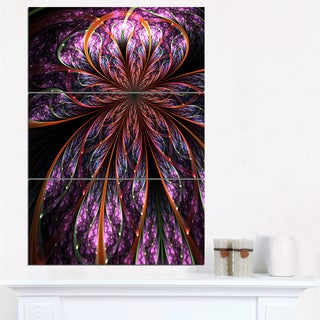 Glossy Pink Blue Fractal Flower - Large Floral Wall Art Canvas