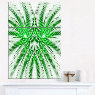 Glowing Green Fractal Flower in White - Large Abstract Canvas Artwork