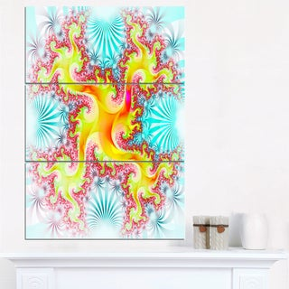 Glowing Golden Fractal Flower - Large Abstract Canvas Artwork