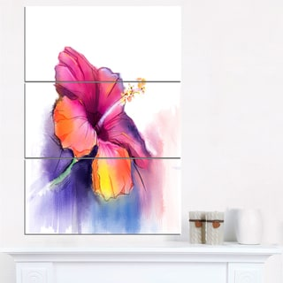 Red Yellow Hibiscus Flower in Blue - Large Flower Canvas Wall Art