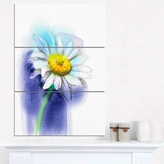 White Gerbera Daisy in Blue - Large Flower Canvas Wall Art