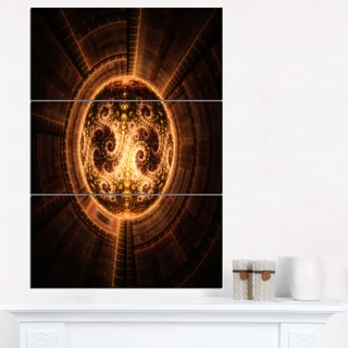 Rounded Orange Glowing Fractal Flower - Large Abstract Canvas Artwork