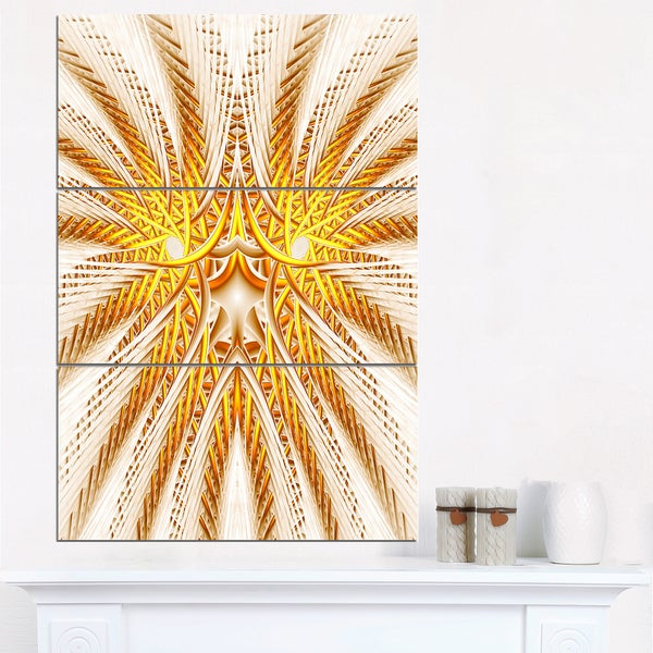Yellow Fractal Flower Symmetrical Design - Large Abstract Canvas Artwork
