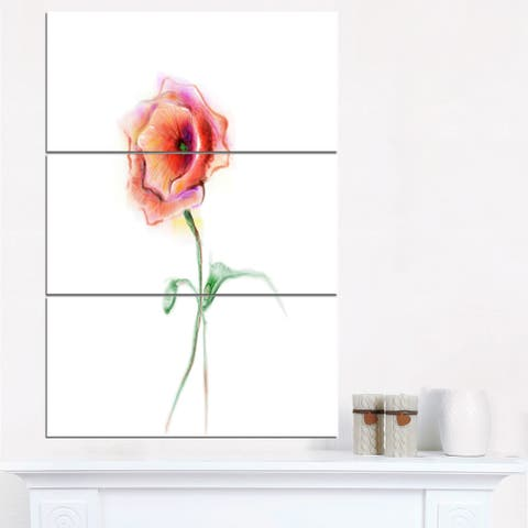 Red Poppy Flower with Green Leaves - Large Flower Canvas Wall Art