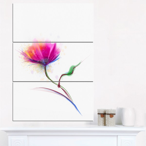 Isolated Purple Poppy Flower - Large Flower Canvas Wall Art - Red