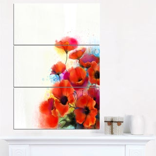 Bunch of Watercolor Poppy Flowers - Large Flower Canvas Wall Art