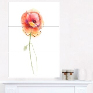 Isolated Watercolor Poppy Flower - Large Flower Canvas Wall Art