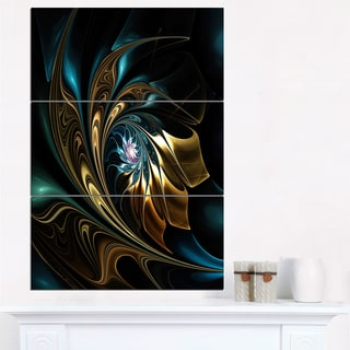 Brown Blue Fractal Flower in Black - Oversized Abstract Canvas Art