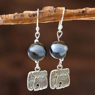 Handcrafted Ceramic Sterling Silver 'Nahual Wisdom' Earrings (Honduras)