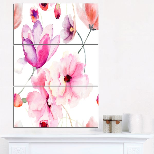 Seamless Pattern of Pink Flowers - Large Flower Canvas Wall Art ...