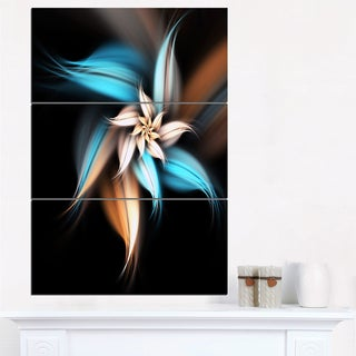 Blue Brown Digital Art Fractal Flower - Large Floral Canvas Art Print