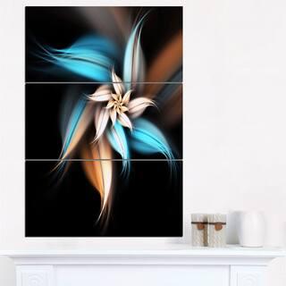 Blue Brown Digital Art Fractal Flower - Large Floral Canvas Art Print