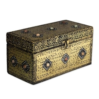 Handcrafted Brass 'Mughal Treasure Chest' Classic Jewelry Box (India)