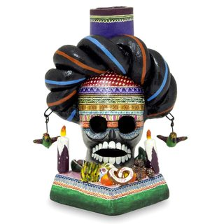 Handcrafted Ceramic 'Day of the Dead Altar' Candleholder (Mexico)
