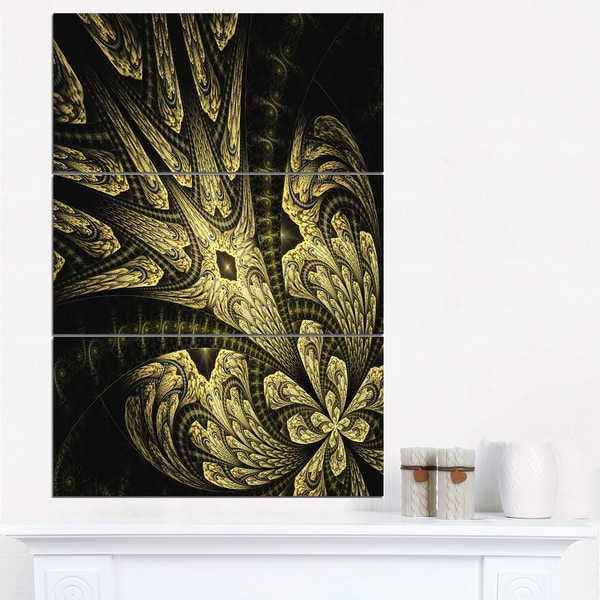 Symmetrical Yellow Long Petal Flower - Large Floral Canvas Art Print - Black