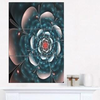 Full Bloom Blue Fractal Flower - Large Floral Canvas Art Print