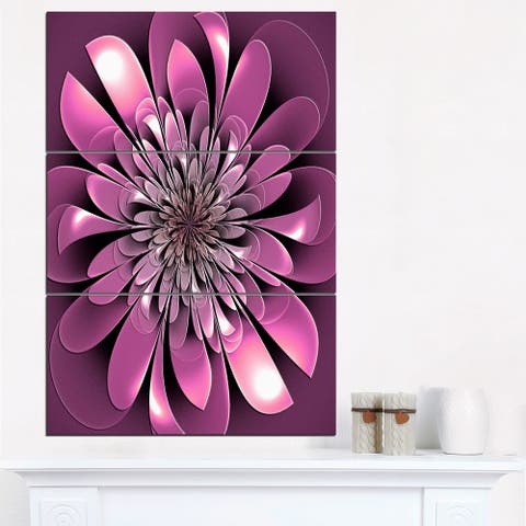 Glittering Lush Purple Fractal Flower - Large Floral Canvas Art Print