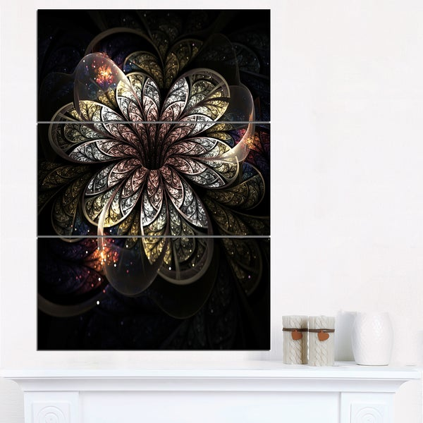 Rounded Glowing Golden Fractal Flower - Large Floral Canvas Art Print - GOLD