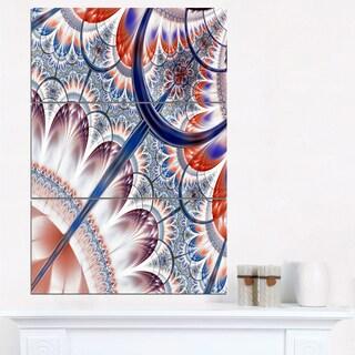 Brown Blue Fractal Flower Pattern - Large Floral Canvas Art Print