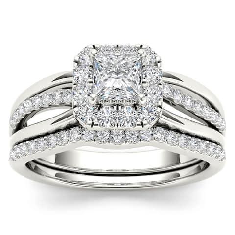De Couer IGI Certified 14k White Gold 5/8ct TDW Princess-Cut Diamond Frame Bridal Set - White H-I