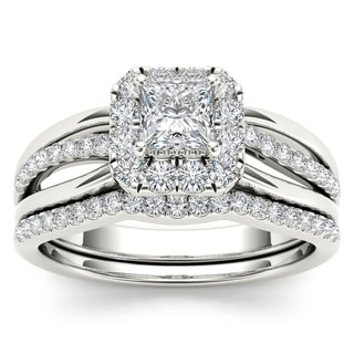 De Couer 14k White Gold 5/8ct TDW Princess-Cut Diamond Frame Bridal Set