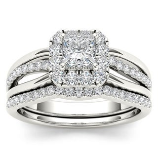 De Couer 14k White Gold 5/8ct TDW Princess-Cut Diamond Frame Bridal Set (H-I, I2)