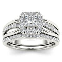 De Couer 14k White Gold 5/8ct TDW Princess-Cut Diamond Frame Bridal Set - White H-I