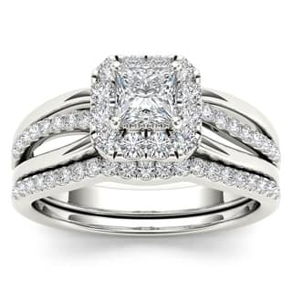 De Couer IGI Certified 14k White Gold 5/8ct TDW Princess-Cut Diamond Frame Bridal Set - White H-I