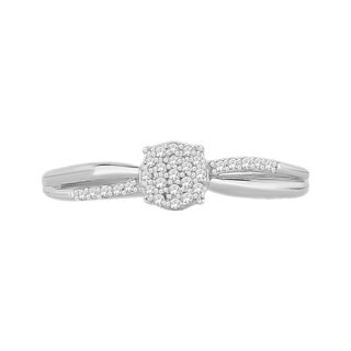 Trillion Designs Sterling Silver Diamond Accent Cluster Split-Shank engagement ring and
