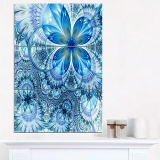Blue Fractal Flower Pattern Design - Floral Canvas Artwork