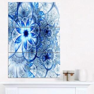 Dark Blue Flower Pattern Design - Floral Canvas Artwork - White