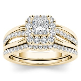 De Couer 14k Yellow Gold 5/8ct TDW Princess-Cut Diamond Frame Bridal Set
