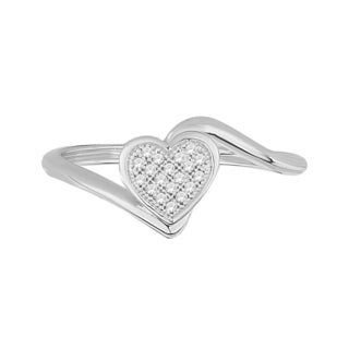 Trillion Designs Sterling Silver Diamond Accent Cluster Bypass Heart engagement ring and