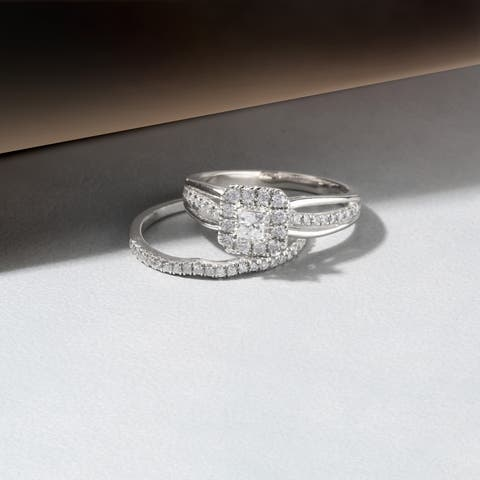 De Couer IGI Certified 14k Rose Gold 5/8ct TDW Princess-Cut Diamond Frame Bridal Set - Pink