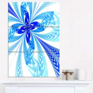 Blue Long Petal Fractal Flower - Floral Canvas Artwork