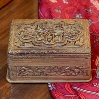 Handmade Walnut Wood 'Spring Flowers' Jewelry Box (India)