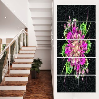 Perfect Fractal Flower in Purple and Green - Floral Canvas Artwork