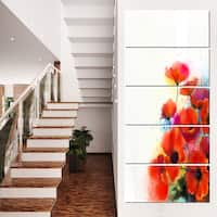 Bunch of Watercolor Poppy Flowers - Large Flower Canvas Wall Art - Red