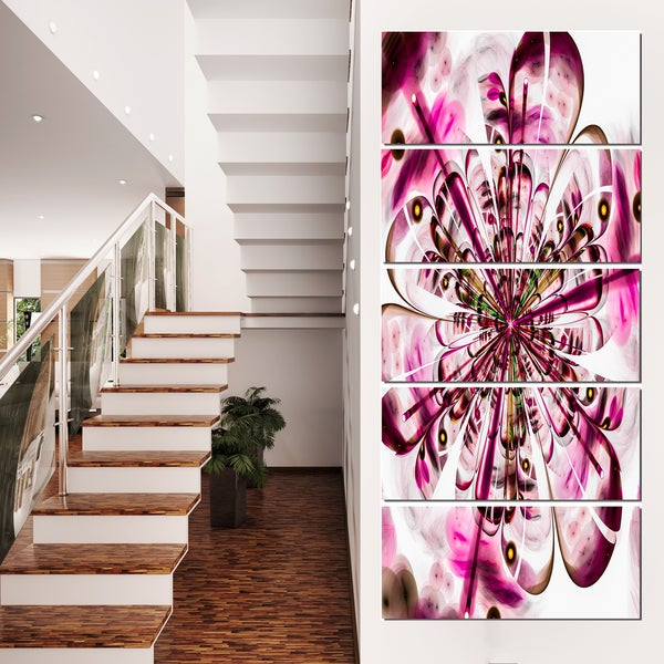 Perfect Digital Flower Art in Dark Pink - Floral Canvas Artwork Print - Purple