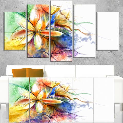 Abstract Multi-color Flower Fusion - Large Flower Canvas Wall Art - Blue