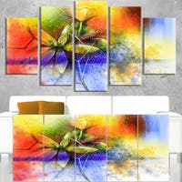 Abstract Colorful Flower Fusion - Large Flower Canvas Wall Art - Blue