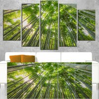 Peaks of Bamboo in Kyoto Forest - Oversized Forest Canvas Artwork - Green
