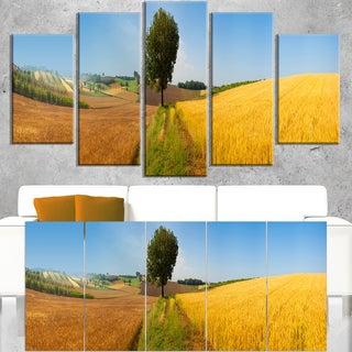 Tuscany Wheat Field Hill Panorama - Landscape Artwork Canvas